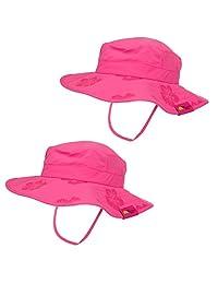 儿童 UPF 50+ Safari 太阳帽,粉色和蓝色花卉图案,UV 防晒,轻量,魔术贴带子