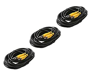 C&E CNE21846 6 RCA-RCA RG59 Patch Cable, Gold Black, 3-Pack