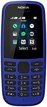 Nokia 105 移动电话(1.8 英寸彩色显示屏,FM 收音机,4 MB ROM,双SIM卡)16KIGL01A08 Version 2019 蓝色