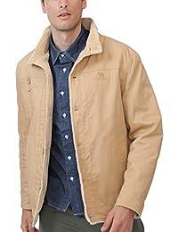 CAMEL 男式羊毛內襯夾克保暖夏爾巴冬季開襟大衣,毛皮時尚牛仔布卡車司機外套
