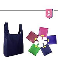 可重复使用的购物袋 - 5 色包 - 带缝袋的可折叠旅行包 - 防水、可洗重型手提包 - 零浪费坚固尼龙杂货袋 - 肩上大提手 Suppaware