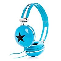 rockpapa 立体声头戴式星星有线耳机可调节耳机适用于 childs 儿童男孩女孩成人 / MP3MP4DVD 电话平板电脑 蓝色