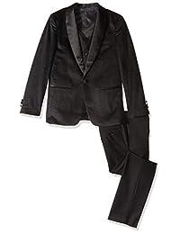 Isaac Mizrahi 男孩 3 件套(球衣背心裤)缎面披肩领正式燕尾服套装