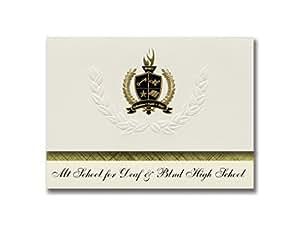 """标志性公告 毕业公告,总统风格,25 件精英包装,金色和黑色金属箔封条 Mt School for Deaf & Blnd High School (Great Falls, MT) 6.25"""" x 11.44"""" 奶油色"""