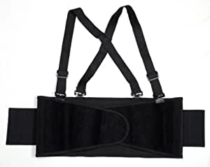 Cordova SB-L Back Support Belt with Attached Suspenders, Black, Large