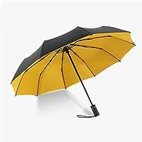 Yandex全自动双层雨伞超大加固十骨抗风折叠伞男女晴雨两用双人遮阳伞 (黄色(双层全自动))