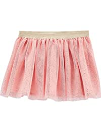 Baby B'Gosh 女童金色斑点薄纱芭蕾舞短裙 粉色弹力金色闪光腰带 24 个月