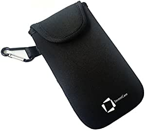 InventCase Neoprene Impact Resistant Protective Pouch Case Cover Bag with Fastening Closure Tab and Aluminium Carabiner for Asus PadFone mini - Black