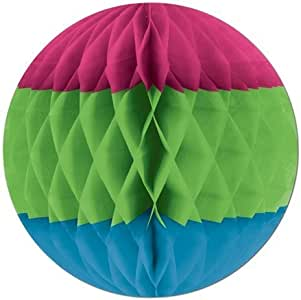 Tri-Color Tissue Ball (cerise, lt green, turquoise) Party Accessory (1 count) (1/Pkg)