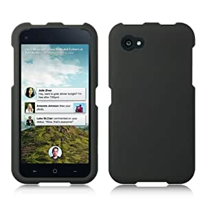 Luxmo CRHTCFIRSTBK Unique Durable Rubberized Crystal Case for HTC First - Retail Packaging - Black