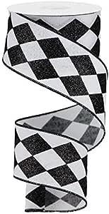 """闪亮 Harlequin 格子有线边缘丝带 6.35 厘米 x 9.2 米 白色,黑色 2.5"""" RGA149927"""