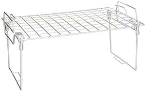 Honey-Can-Do KCH-01869 Stacking Kitchen Shelving Wire Rack, White, 15.75L x 9.75W x 8H