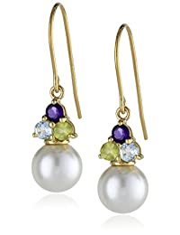 18k Gold-Plated Sterling Silver, Genuine White Shell Freshwater Cultured Pearl, Blue Topaz, Peridot, and Amethyst Drop Earrings