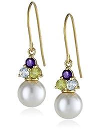 Amazon Collection 美国亚马逊自有品牌 18k 镀金纯银 纯淡水养殖珍珠多宝石耳饰 女士耳坠
