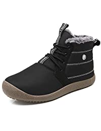 YIRUIYA Mens Fur Lining Snow Boots Winter Shoes
