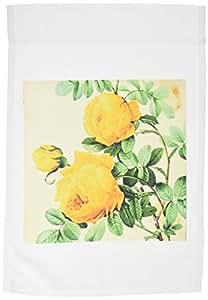 CASSIE peters 鲜花–复古黄色玫瑰数码艺术–旗帜 12 x 18 inch Garden Flag