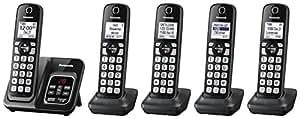 Panasonic 可伸缩无绳电话带电话屏和应答机 5 个手机套 金属黑