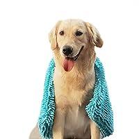 NACOCO 狗狗快干毛巾宠物浴巾可机洗手袋清洁宠物毛巾适用于小型到大型狗猫() 蓝色 L