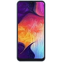 "Samsung Galaxy A50 6.4"" Infinity-U 显示屏,三部摄像头,64GB,4GB RAM A505F/DS,无 CDMA,无保修SM-A505FZBDINS 6.4 inch 蓝色"