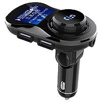 Moveski 摩维凯 车载FM发射器 BC28车载蓝牙免提 双USB充电 USB2支持2.1A快充 3.5毫米AUX输入输出 TF读卡 断电记忆功能-黑色
