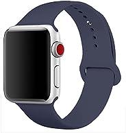 Apple Watch 表带 38mm 42mm - 运动版 适用于 iWatch 系列 1、系列 2、系列 3 - 替换硅胶运动表带for_Apple Watch Band 38mm-MdntBlue-M/L 38mm