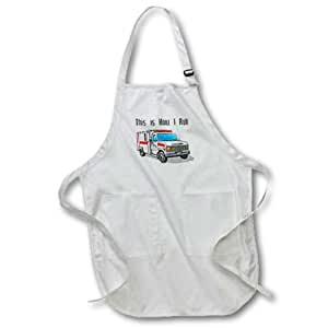 3dRose This How I Roll Ambulance EMT Design - Full Length Apron, 22 by 30-Inch, White, with Pockets (apr_102561_1)