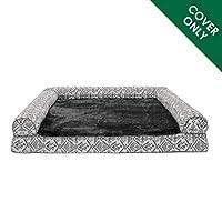 Furhaven 宠物狗床套 | 毛绒 Kilim 传统沙发风格起居室沙发宠物床替换套,适用于狗狗和猫,石灰,特大号
