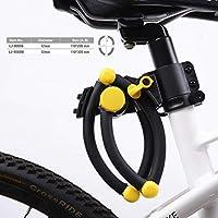 LJ LihJaw 重型高*自行车锁,可折叠自行车锁链,12mm 实心硬化合金钢,不易破损,不可切割,可伸缩自行车锁,山地自行车锁