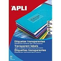 Apli 1225 - 透明标签用于激光打印机和复印,210 x 297 毫米,20 张
