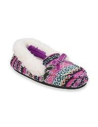 Dearfoams 女童毛衣针织莫卡辛*泡沫拖鞋,羊毛袖口和衬里