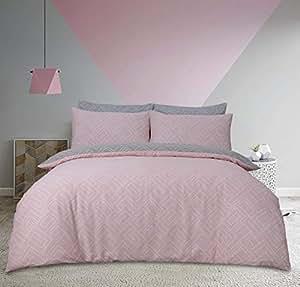 Sleepdown 双面印花方形圆点灰色涤纶棉被/羽绒被套装 粉红色 Single 5056242722717