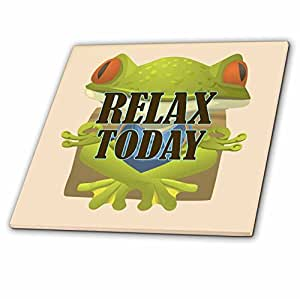 3dRose Relax Today. Popular. Frog. Yoga - Ceramic Tile, 6-Inch (ct_215151_2)