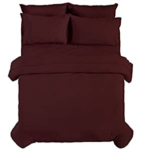 EmpireLinen 3 件羽绒被套套装 + 2 件枕套,奢华*店品质防皱。 保护和包裹您的被子/被芯 *红色 Queen
