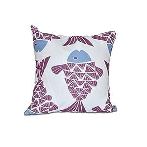 E by Design 海滩度假大鱼印花户外枕头 紫色 18 x 18 英寸 O5PAN427PU5BL16-18