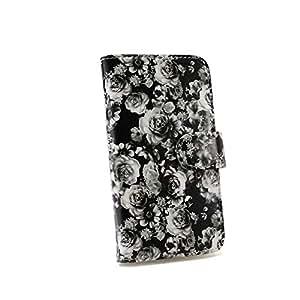 白色坚果玫瑰图案手机保护壳翻盖式 黑 2_ Xperia VL SOL21