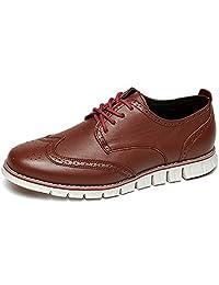Laoks 男式 Brogues 牛津翼尖真皮正装鞋 商务休闲系带棕色
