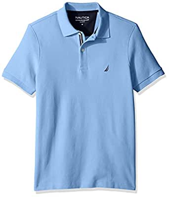 Nautica Men's Slim Fit Short Sleeve Solid Polo Shirt  Noon Blue Small