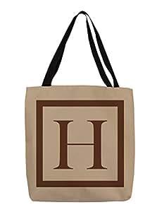 手工木工和Weavers 购物手提袋,16 英寸,字母字母H ,焦糖经典积木