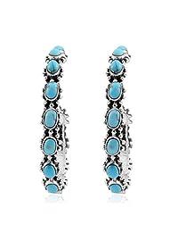 925 纯银蓝*蓝色西南珠宝环状耳环女式礼品(无镍铅 31 毫米)