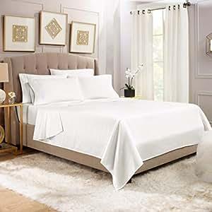 """优质 6 件套床单和枕套套装 - 奢华和软亚麻,超深口袋*床笠,卧室必备品,赠 2 件枕套和""""Better Sleep Guide"""" 白色 King B01GF26KTG"""