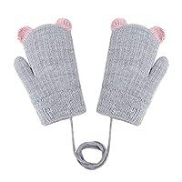 PURFUN 儿童可爱小熊耳朵针织手套冬季保暖毛绒内衬滑雪手套