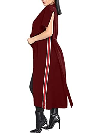 yshn 女式无袖休闲翻领斗篷外套前卫风衣 Redwine X-Large