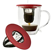 Primula Single Serve Coffee Brew Buddy ?? Nearly Universal Fit ?? Ideal for Travel, Reusable Fine Mesh Filter, Red