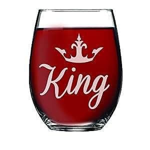 My Personal Memories King and Queen Stemless *杯,品脱啤*杯,威士忌*杯套装适合新娘送礼、婚礼、周年纪念和情侣 Stemless Script King Stemless Wine 15oz MPM0372F