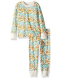 Masala 女童小有机睡衣,L/S 点缀蓝色,