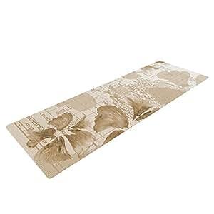 Kess InHouse Catherine Holcombe Flower Power 褐色瑜伽运动垫,棕色地图,182.88 x 60.96 厘米