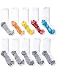 Fruit Of The Loom 大男孩 10 双装船袜,白色/灰色/蓝色/绿色/橙色/红色,鞋尺码:3-9