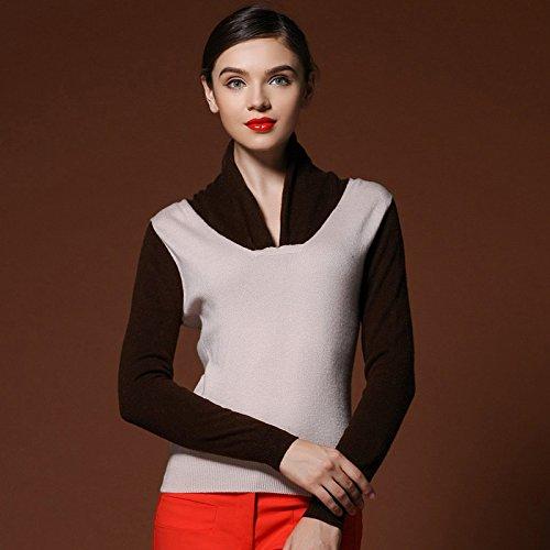 RONGDUSHIJIA 绒都世佳 青果领撞色羊毛衫正品 秋冬打底衫 韩版女装宽松毛衣外套