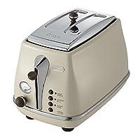 De'Longhi 德龙 Icona Vintage 复古系列 CTO2003.VBG 多士炉 2片式 奶油白色 900W (意大利品牌 海外自营 国内官方联保两年)(包邮包税)