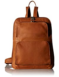 (honey) - piel leather slim tablet backpack with front pockets, honey, one size